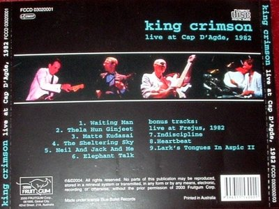 King Crimson - Live at the Cap D'Agde 1982 Back.jpg